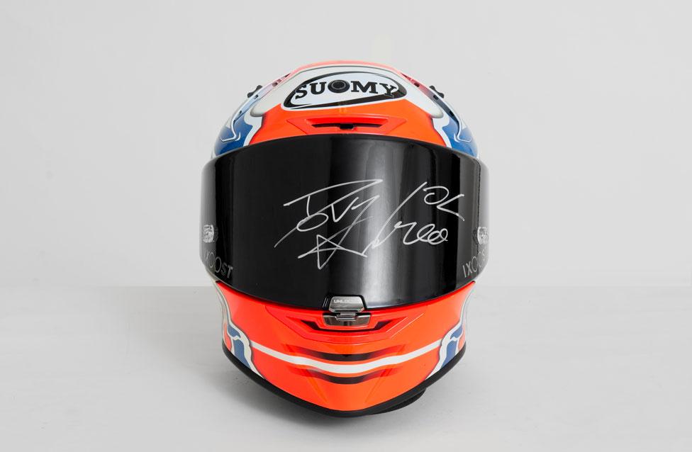 DOVI#04 SOUND - bluetooth speaker helmet autographed by Andrea Dovizioso front